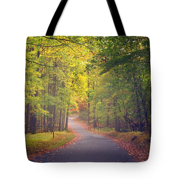Autumn Road Tote Bag by Rima Biswas