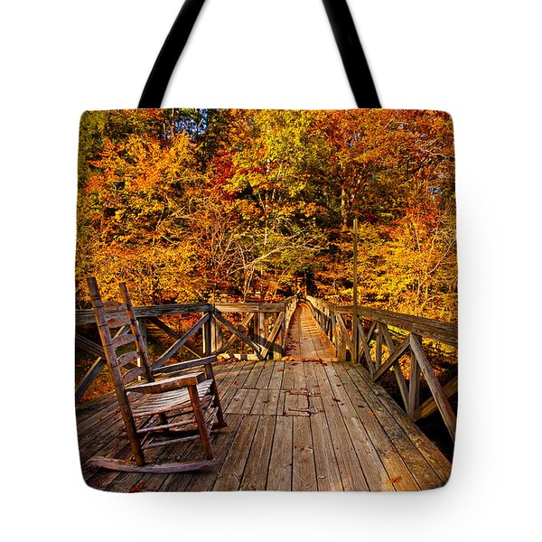 Autumn Rocking On Wooden Bridge Landscape Print Tote Bag by Jerry Cowart