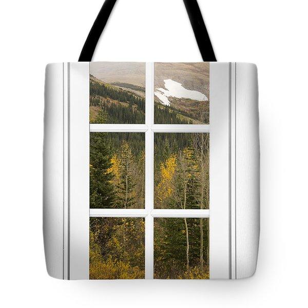 Autumn Rocky Mountain Glacier View Through A White Window Frame  Tote Bag by James BO  Insogna