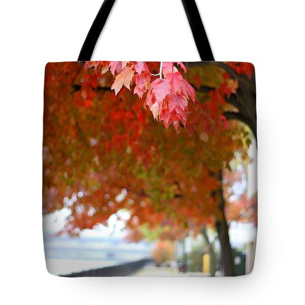 Autumn Sidewalk Tote Bag