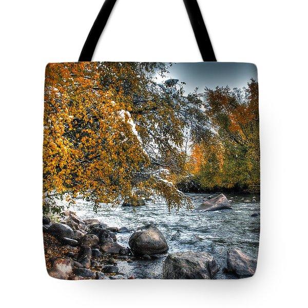 Autumn Snow Tote Bag by Bob Hislop