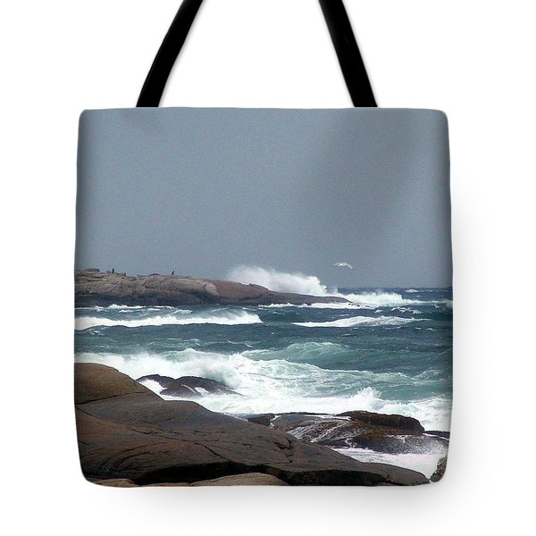 Autumn Storm At Peggy's Cove Tote Bag by Janet Ashworth