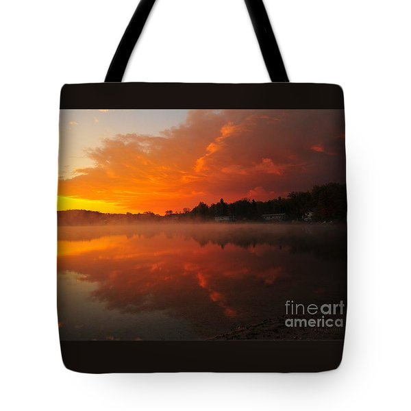 Autumn Sunrise At Stoneledge Lake Tote Bag by Terri Gostola