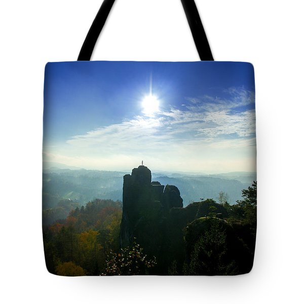 Autumn Sunrise In The Elbe Sandstone Mountains Tote Bag