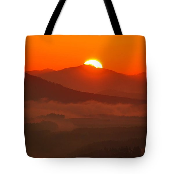 Autumn Sunrise On The Lilienstein Tote Bag