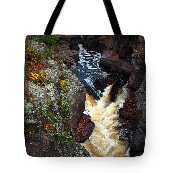 Tote Bag featuring the photograph Autumn Temperance River by James Peterson