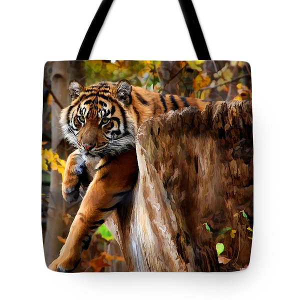 Tote Bag featuring the photograph Autumn Tiger by Elaine Manley