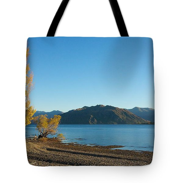 Tote Bag featuring the photograph Autumn Trees At Lake Wanaka by Stuart Litoff
