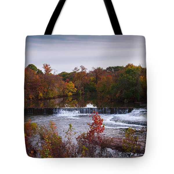 Tote Bag featuring the photograph Refreshing Waterfalls Autumn Trees On The Stones River Tennessee by Jerry Cowart