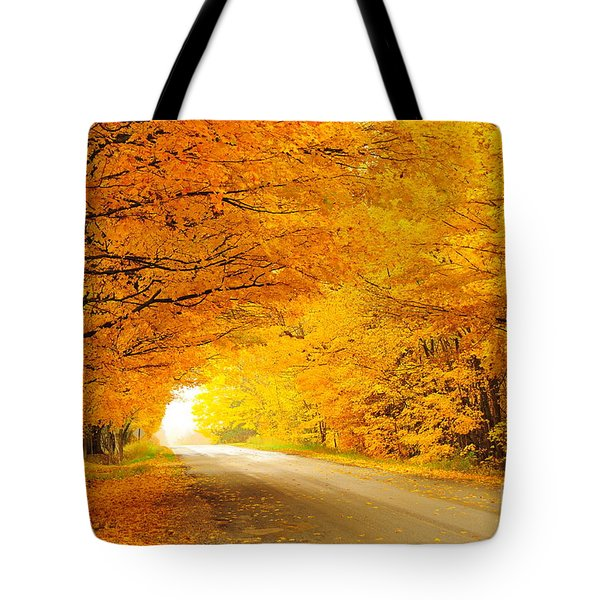 Autumn Tunnel Of Gold 8 Tote Bag by Terri Gostola