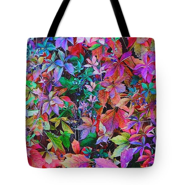 Autumn Virginia Creeper Tote Bag