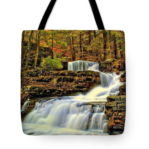 Autumn By The Waterfall Tote Bag by Nick Zelinsky