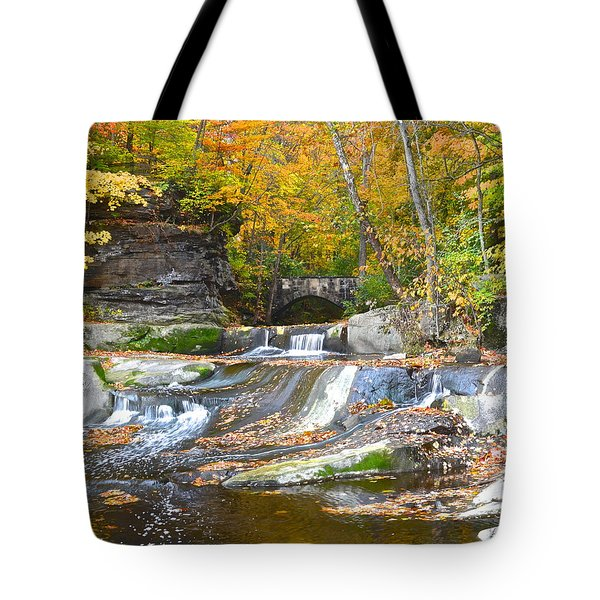 Autumn Waterfall Tote Bag by Frozen in Time Fine Art Photography