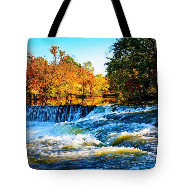 Tote Bag featuring the photograph Amazing Autumn Flowing Waterfalls On The River  by Jerry Cowart