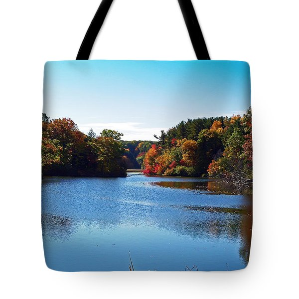 Autumn Waterway Tote Bag by Aimee L Maher Photography and Art Visit ALMGallerydotcom