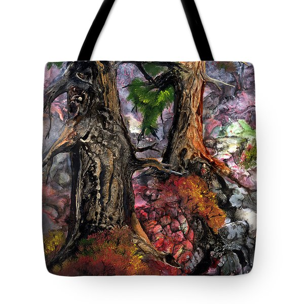 Tote Bag featuring the painting Autumn Woods by Sherry Shipley