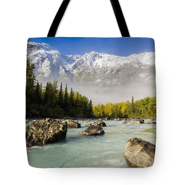 Autumns Colors Contrast With Winters Tote Bag