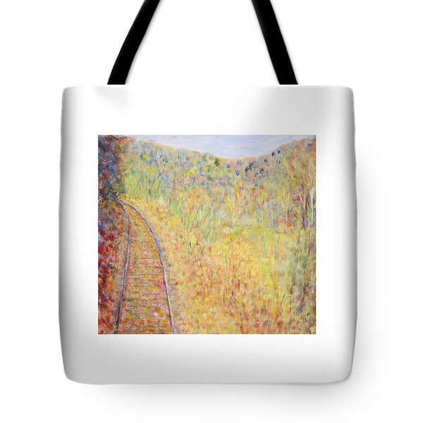 Autumns Maple Leaves And Train Tracks Tote Bag
