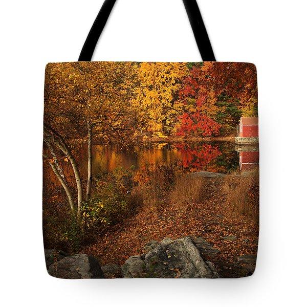 Autumns Path Tote Bag by Karol Livote