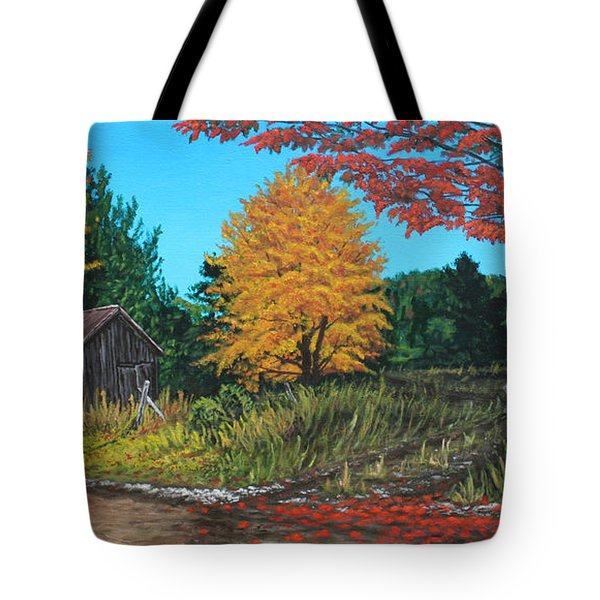 Autumns Rustic Path Tote Bag by Wendy Shoults