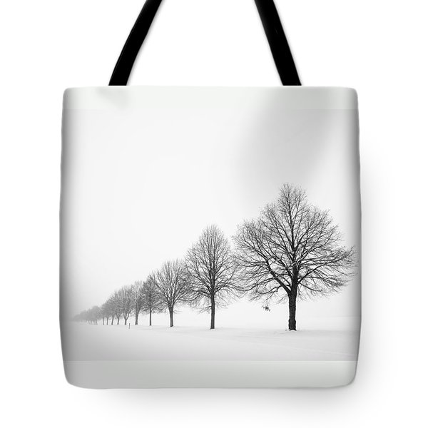 Avenue With Row Of Trees In Winter Tote Bag