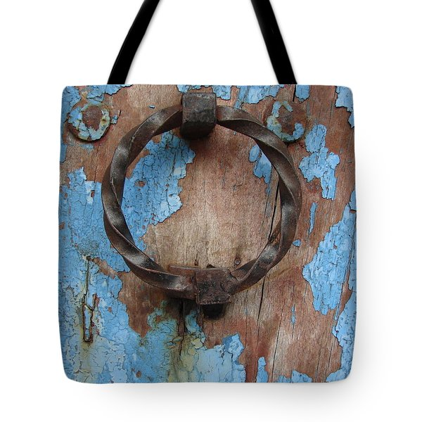 Tote Bag featuring the photograph Avignon Door Knocker On Blue by Ramona Johnston
