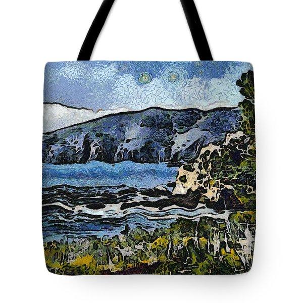 Avila Bay California Abstract Seascape Tote Bag by Barbara Snyder