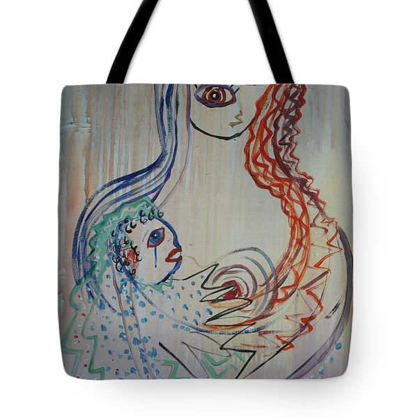 Tote Bag featuring the painting Avi's Madonna by Avonelle Kelsey