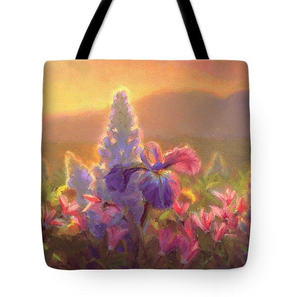 Awakening - Mt Susitna Spring - Sleeping Lady Tote Bag by Karen Whitworth