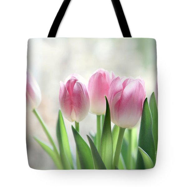Awakening- Pale Pink Tulips Tote Bag