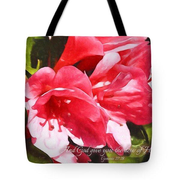 Azalea With Scripture Tote Bag