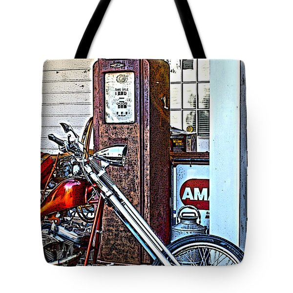 Tote Bag featuring the photograph Aztec And The Gas Pump by Lesa Fine