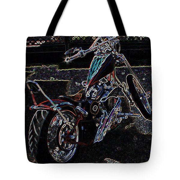 Tote Bag featuring the digital art Aztec Neon Art by Lesa Fine