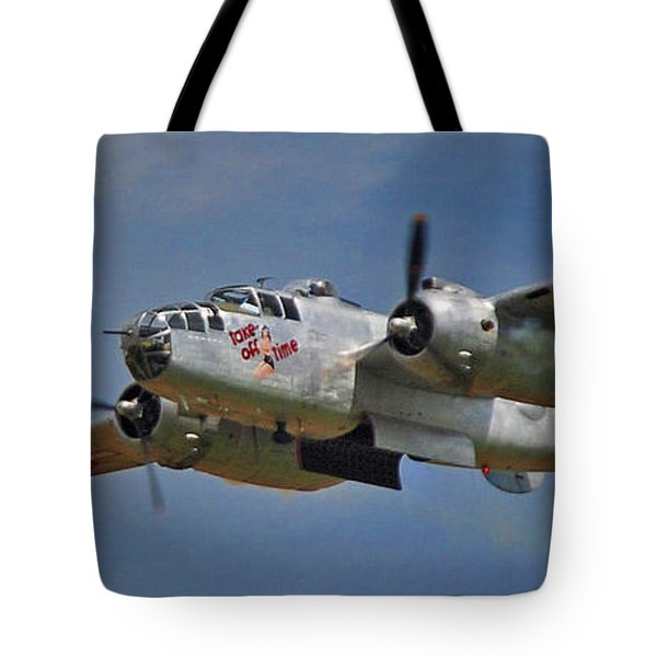 B-25 Take-off Time 3748 Tote Bag by Guy Whiteley