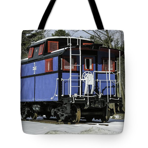 Tote Bag featuring the photograph B And M Blue Caboose by Betty Denise