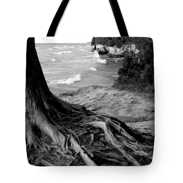 B And W Cedar Roots At Cave Point Tote Bag
