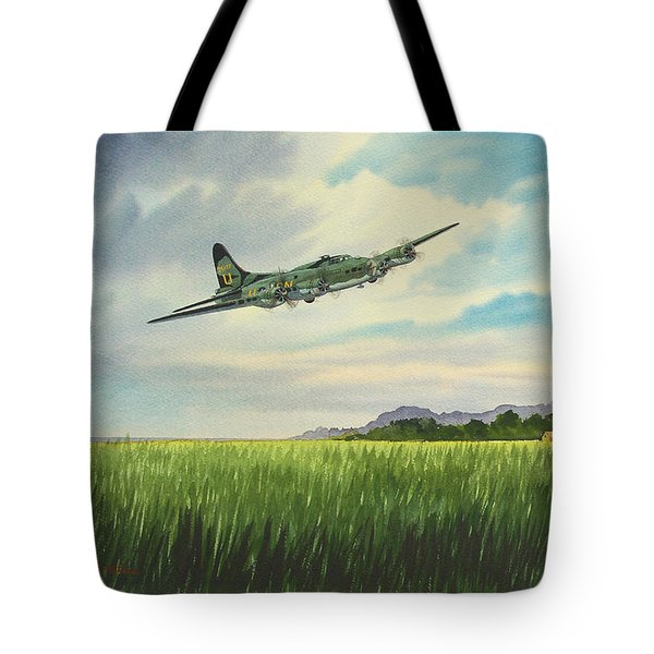 B17 Over Norfolk England Tote Bag