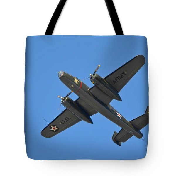 B25 Mitchell Wwii Bomber On 70th Anniversary Of Doolittle Raid Over Florida 21 April 2013 Tote Bag by Jeff at JSJ Photography