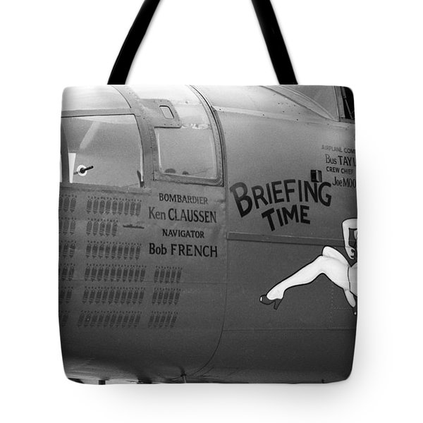 B25j Mitchell Briefing Time Bw Tote Bag