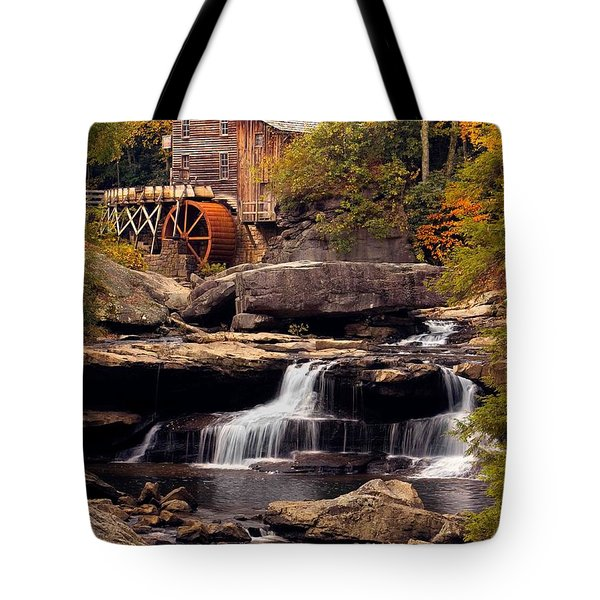 Tote Bag featuring the photograph Babcock Grist Mill And Falls by Jerry Fornarotto