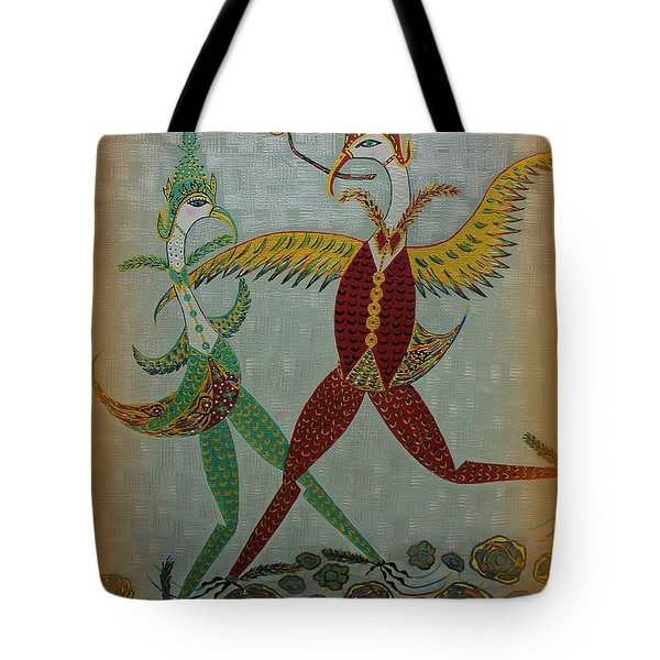 Tote Bag featuring the painting Babe Let's Tango by Marie Schwarzer