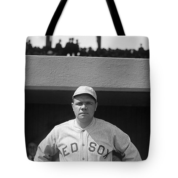 Babe Ruth In Red Sox Uniform Tote Bag by Underwood Archives