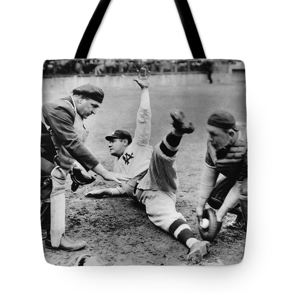 Babe Ruth Slides Home Tote Bag by Underwood Archives