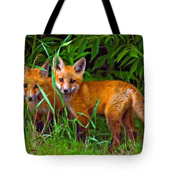 Babes In The Woods Impasto Tote Bag by Steve Harrington