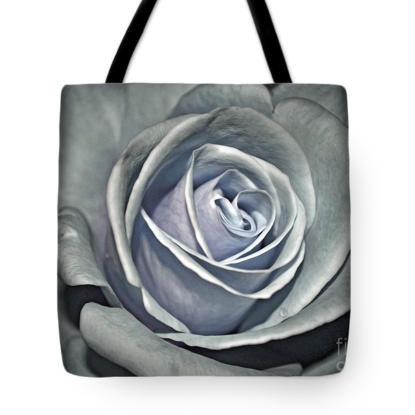 Tote Bag featuring the photograph Baby Blue Rose by Savannah Gibbs