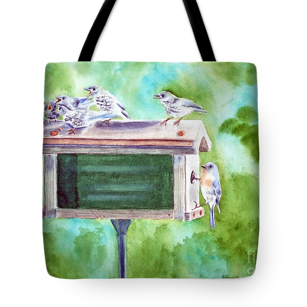Baby Blues - Eastern Bluebird Family Tote Bag by Kathryn Duncan