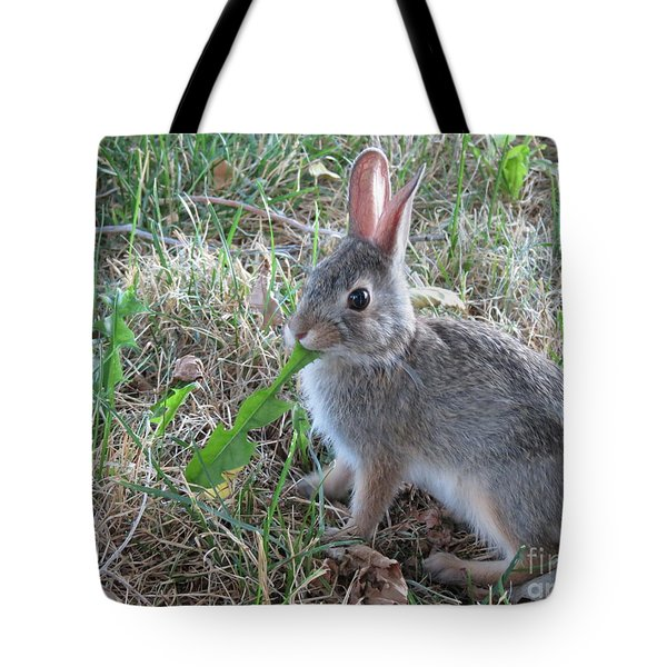 Baby Bunny Eating Dandelion #01 Tote Bag