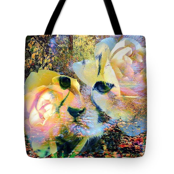 Baby Cheetah And Roses In Wilderness Tote Bag
