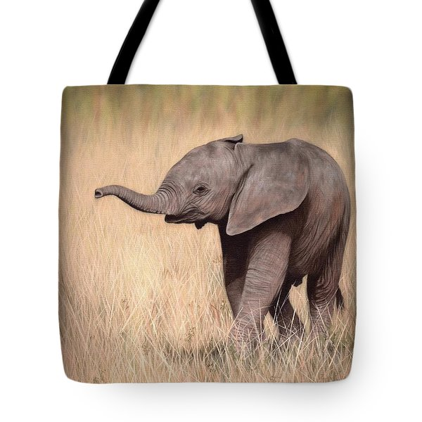 Elephant Calf Painting Tote Bag