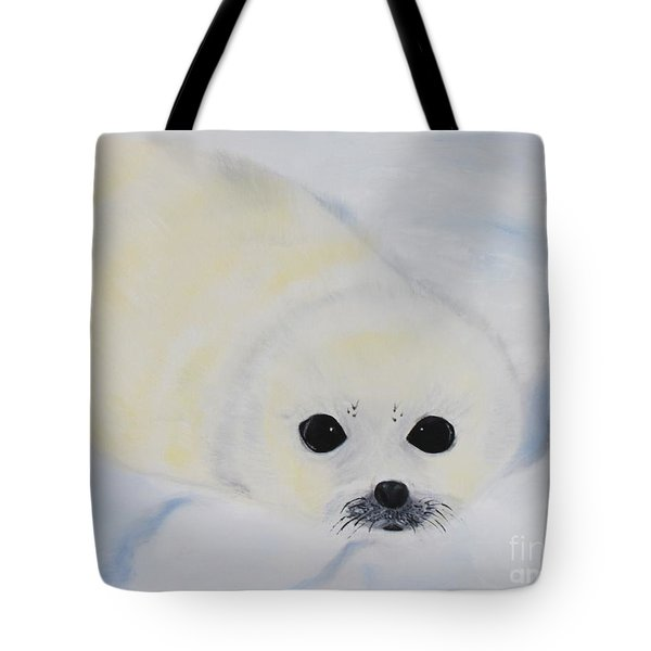 Tote Bag featuring the painting Baby Harp Seal by Bev Conover